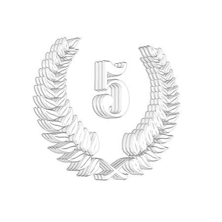3D Illustration, 3D Rendering: A laurel wreath with the number 5, symbol image for a jubilee, anniversaries, successes