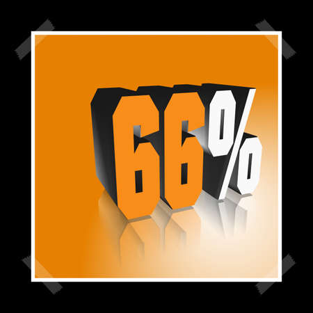 3D illustration, 3D Rendering: 66%, symbol image for investments, interest, discount, profit