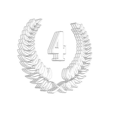 3D Illustration, 3D Rendering: A laurel wreath with the number 4, symbol image for a jubilee, anniversaries, successes 写真素材