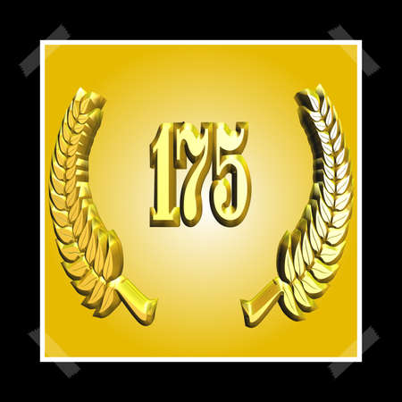3D Illustration, 3D Rendering: A laurel wreath with the number 175, symbol image for a jubilee, anniversaries, successes