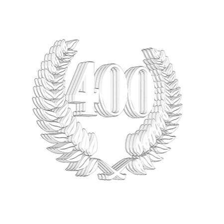3D Illustration, 3D Rendering: A laurel wreath with the number 400, symbol image for a jubilee, anniversaries, successes 写真素材 - 124980633