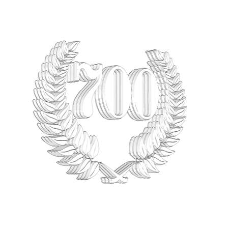 3D Illustration, 3D Rendering: A laurel wreath with the number 700, symbol image for a jubilee, anniversaries, successes