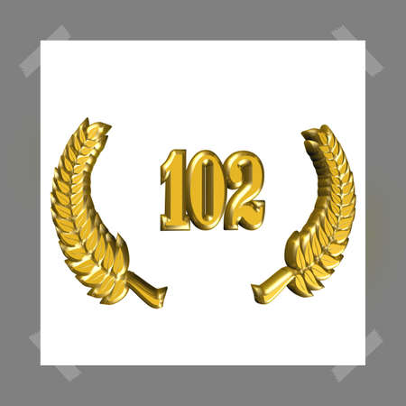 3D Illustration, 3D Rendering: A laurel wreath with the number 102, symbol image for a jubilee, anniversaries, successes 写真素材 - 124980645
