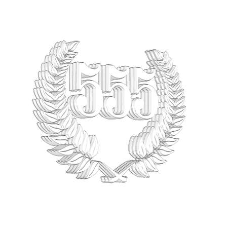 3D Illustration, 3D Rendering: A laurel wreath with the number 555, symbol image for a jubilee, anniversaries, successes 写真素材 - 124980682