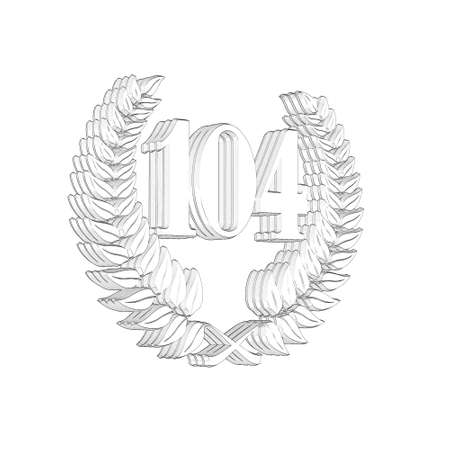 3D Illustration, 3D Rendering: A laurel wreath with the number 104, symbol image for a jubilee, anniversaries, successes 写真素材 - 124980730