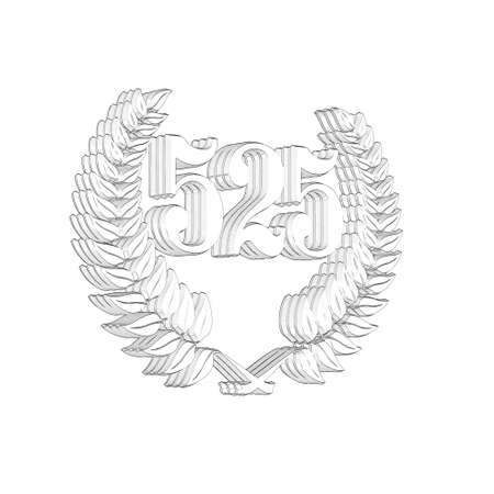 3D Illustration, 3D Rendering: A laurel wreath with the number 525, symbol image for a jubilee, anniversaries, successes 写真素材 - 124980739