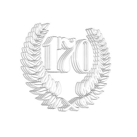 3D Illustration, 3D Rendering: A laurel wreath with the number 170, symbol image for a jubilee, anniversaries, successes 写真素材