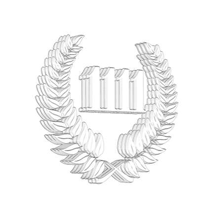 3D Illustration, 3D Rendering: A laurel wreath with the number 1111, symbol image for a jubilee, anniversaries, successes 写真素材