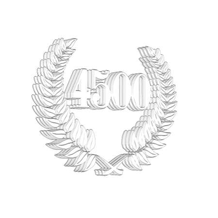 3D Illustration, 3D Rendering: A laurel wreath with the number 4500, symbol image for a jubilee, anniversaries, successes 写真素材 - 124980768