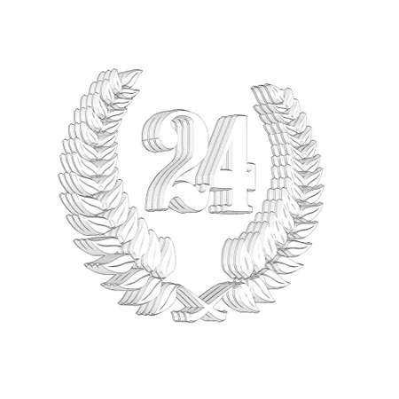 3D Illustration, 3D Rendering: A laurel wreath with the number 24, symbol image for a jubilee, anniversaries, successes 写真素材 - 124980772