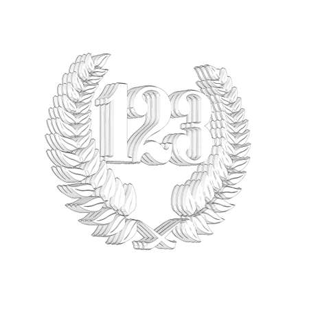 3D Illustration, 3D Rendering: A laurel wreath with the number 123, symbol image for a jubilee, anniversaries, successes 写真素材 - 124980797