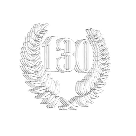 3D Illustration, 3D Rendering: A laurel wreath with the number 130, symbol image for a jubilee, anniversaries, successes 写真素材 - 124980805