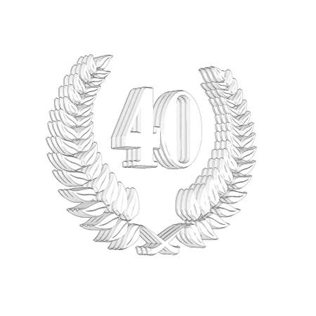 3D Illustration, 3D Rendering: A laurel wreath with the number 40, symbol image for a jubilee, anniversaries, successes 写真素材 - 124980829