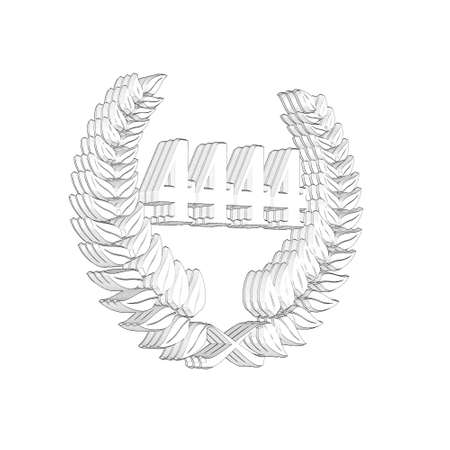 3D Illustration, 3D Rendering: A laurel wreath with the number 4444, symbol image for a jubilee, anniversaries, successes