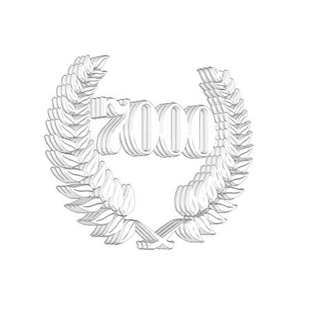 3D Illustration, 3D Rendering: A laurel wreath with the number 7000, symbol image for a jubilee, anniversaries, successes