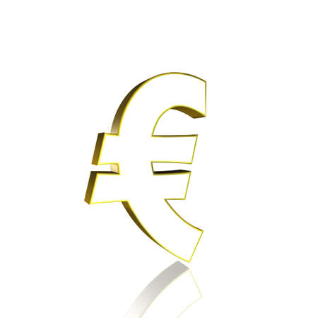3D Illustrationen, 3D Rendering: Euro currency symbol in gold Stock Photo