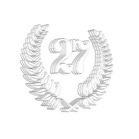 3D Illustration, 3D Rendering: A laurel wreath with the number 27, symbol image for a jubilee, anniversaries, successes 写真素材 - 124980910