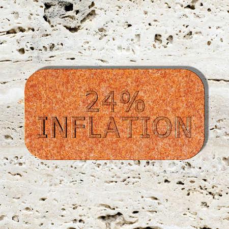 3D Illustration, 3D Rendering: 24% Inflation, Symbolbild für Preissteigerung, Geldentwertung Stockfoto