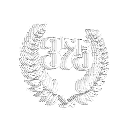 3D Illustration, 3D Rendering: A laurel wreath with the number 375, symbol image for a jubilee, anniversaries, successes