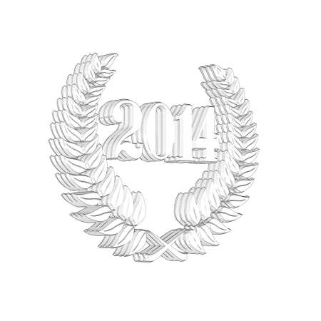 3D Illustration, 3D Rendering: A laurel wreath with the number 2014, symbol image for a jubilee, anniversaries, successes 写真素材 - 124981003