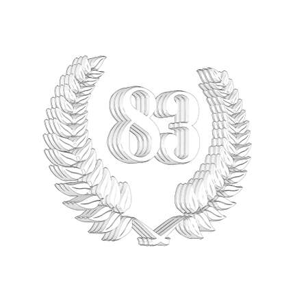 3D Illustration, 3D Rendering: A laurel wreath with the number 83, symbol image for a jubilee, anniversaries, successes