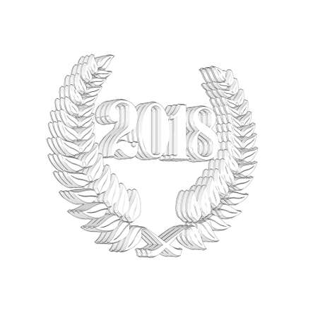 3D Illustration, 3D Rendering: A laurel wreath with the number 2018, symbol image for a jubilee, anniversaries, successes 写真素材 - 124981011