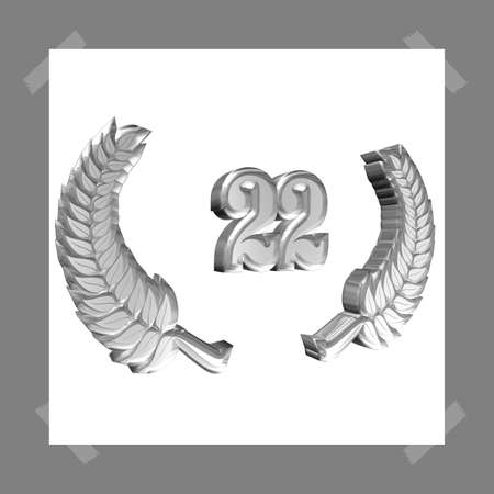3D Illustration, 3D Rendering: A laurel wreath with the number 22, symbol image for a jubilee, anniversaries, successes
