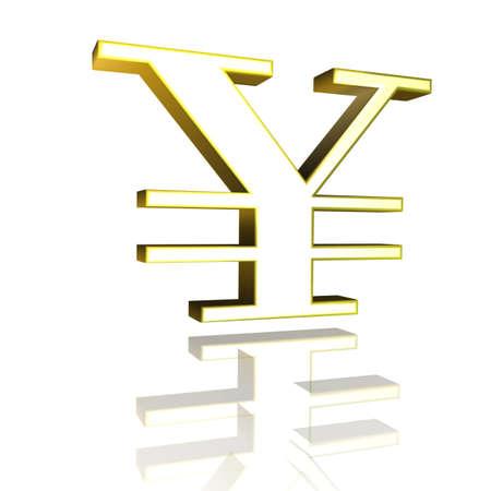 3D Illustrationen, 3D Rendering: yen currency symbol in gold 스톡 콘텐츠