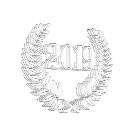 3D Illustration, 3D Rendering: A laurel wreath with the number 2019, symbol image for a jubilee, anniversaries, successes 写真素材 - 124981055