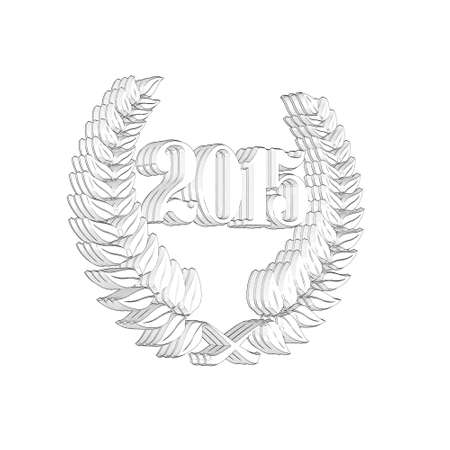 3D Illustration, 3D Rendering: A laurel wreath with the number 2015, symbol image for a jubilee, anniversaries, successes