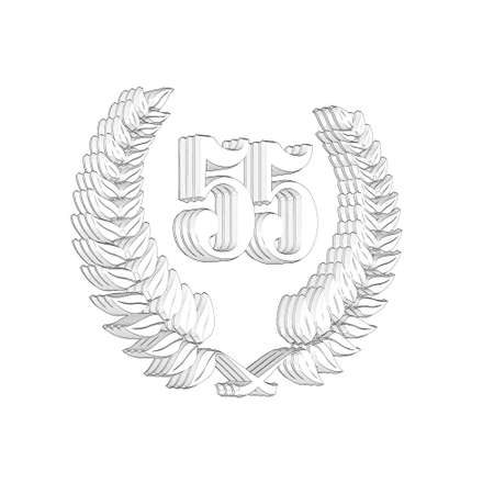 3D Illustration, 3D Rendering: A laurel wreath with the number 55, symbol image for a jubilee, anniversaries, successes