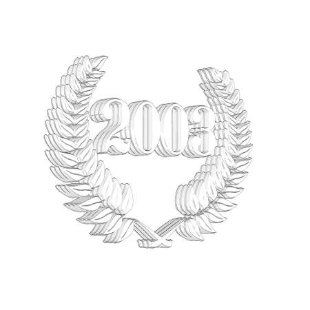 3D Illustration, 3D Rendering: A laurel wreath with the number 2003, symbol image for a jubilee, anniversaries, successes