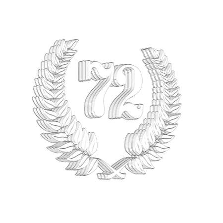 3D Illustration, 3D Rendering: A laurel wreath with the number 72, symbol image for a jubilee, anniversaries, successes 写真素材