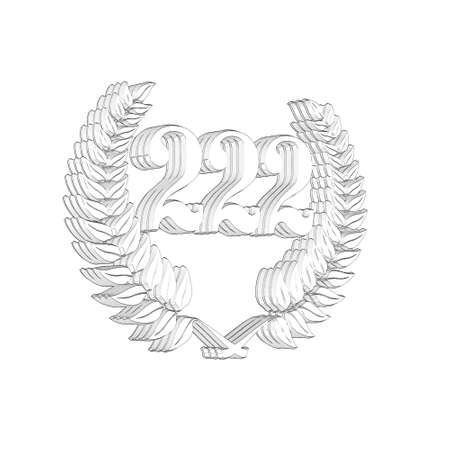 3D Illustration, 3D Rendering: A laurel wreath with the number 222, symbol image for a jubilee, anniversaries, successes 写真素材
