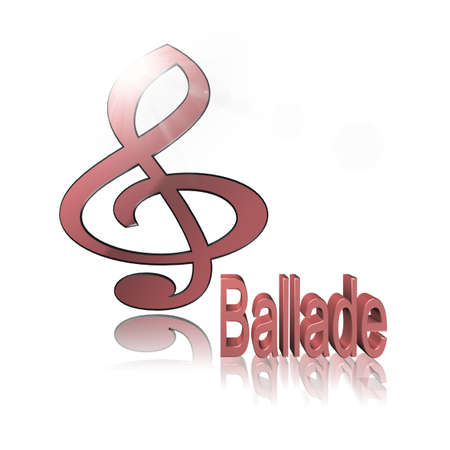 Ballad Music - 3D illustration, 3D Rendering: symbol image for music, entertainment and culture