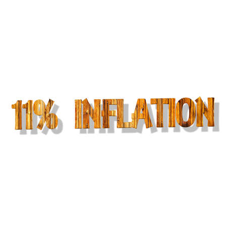 3D illustration, 3D Rendering: 11% inflation, symbol image for price increase, depreciation Stock Photo