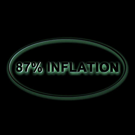 3D illustration, 3D Rendering: 87% inflation, symbol image for price increase, depreciation Stock Photo