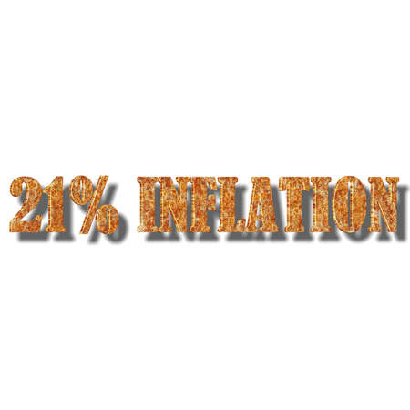 3D illustration, 3D Rendering: 21% inflation, symbol image for price increase, depreciation Stock Photo