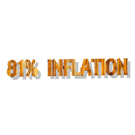 3D illustration, 3D Rendering: 81% inflation, symbol image for price increase, depreciation Stock Photo