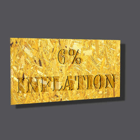 3D illustration, 3D Rendering: 6% inflation, symbol image for price increase, depreciation Stock Photo