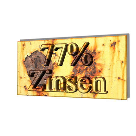 3D illustration, 3D Rendering: 77% interest, symbol image of investment, interest income Stock Photo
