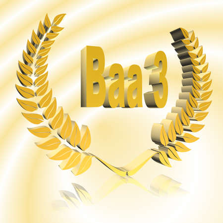 3D Illustration, 3D Rendering: rating or rating code for assessing the creditworthiness of a debtor; Code Baa3