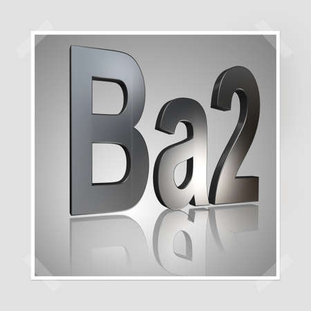 3D Illustration, 3D Rendering: rating or rating code for assessing the creditworthiness of a debtor; Code Ba2