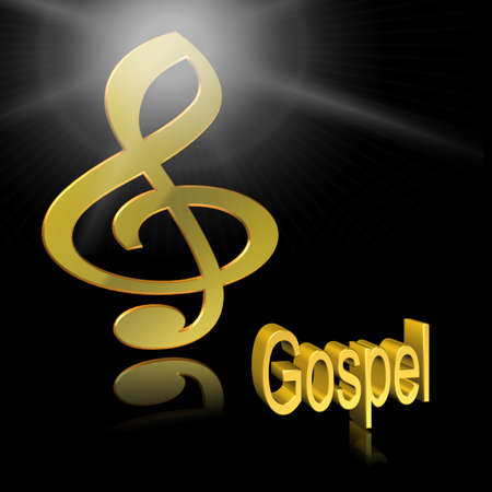 Gospel Music - 3D illustration, 3D Rendering: symbol image for music, entertainment and culture