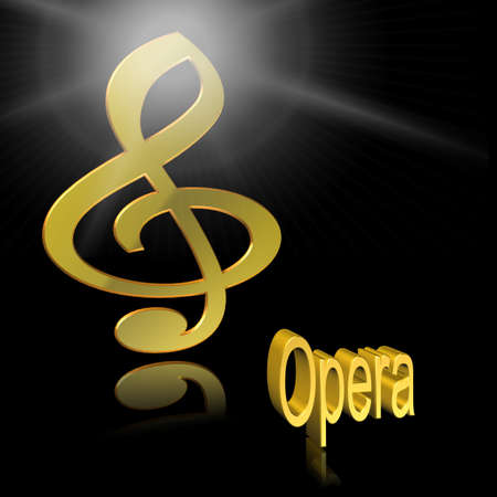 Opera Music - 3D illustration, 3D Rendering: symbol image for music, entertainment and culture