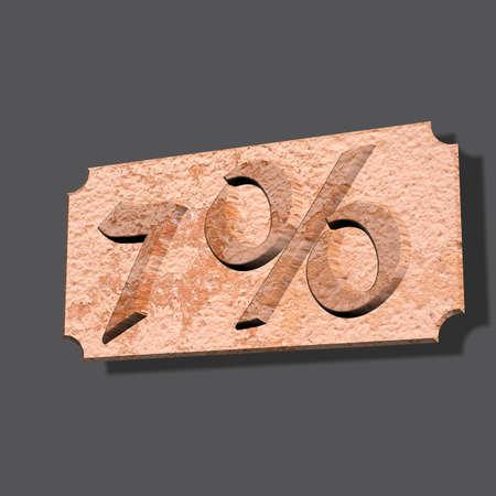 3D illustration, 3D Rendering: 7%, symbol image for investments, interest, discount, profit