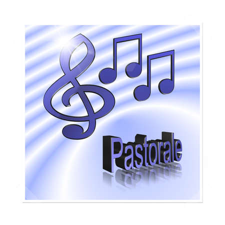 Pastoral Music - 3D illustration, 3D Rendering: symbol image for music, entertainment and culture Фото со стока