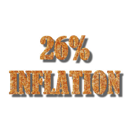 3D illustration, 3D Rendering: 26% inflation, symbol image for price increase, depreciation 스톡 콘텐츠