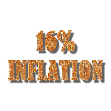 3D illustration, 3D Rendering: 16% inflation, symbol image for price increase, depreciation