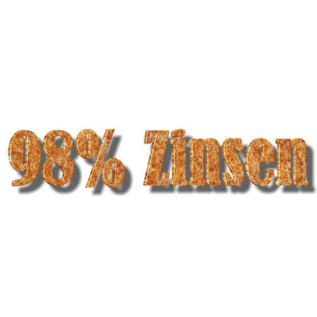 3D illustration, 3D Rendering: 98% interest, symbol image of investment, interest income 스톡 콘텐츠